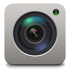 Photo camera icon, lens vector design.