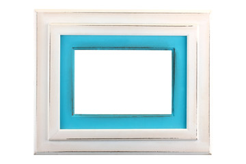Pastel light blue color wood photo frame in country rustic style isolated on white background,Template for add photo