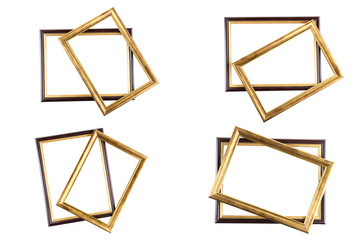 Set of few gold picture frames. Isolated over white background with clipping path. college