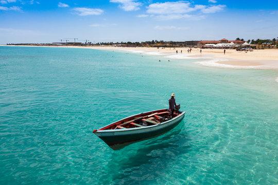 Traditional fisher boat in Santa Maria  in Sal Island in Cape Ve
