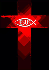 Grunge Red Cross with a Ichthys Fish symbol and Jesus Text