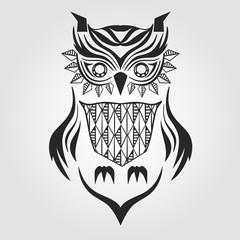 silhouette owl. graphic design. vector illustration.