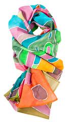 knotted batik silk scarf with geometric pattern