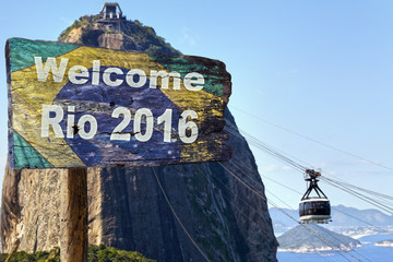 Welcome sign to Rio de Janeiro, close to the cable car.