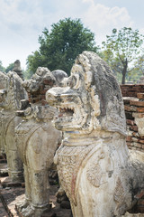 "Statue lion style cambodia around pagoda ruins. In "" Wat Thammik"