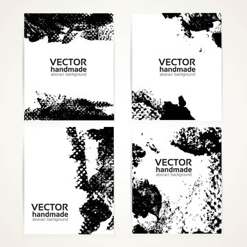 Abstract black and white brush texture hand drawing and prints  banner set 2