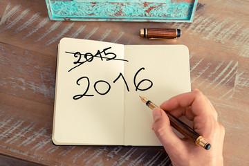 Handwritten text Happy New Year 2016