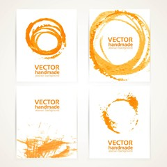 Abstract orange and white brush texture and circles handdrawing