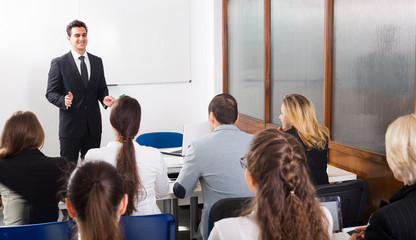 Business students in classroom