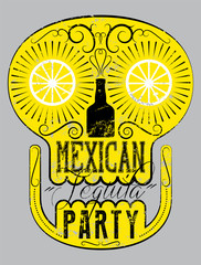 Typographic retro grunge Mexican Tequila Party poster with the skull. Vector illustration.