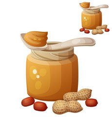 Peanut butter. Detailed Vector Icon isolated on white background