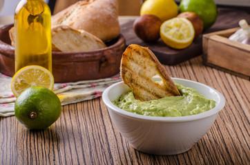 Avocado basil pesto with toast