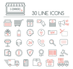 Set of e-commerce linear icons. Modern line icons for business, web development and landing page. Flat design. Vector