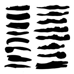 Abstract black flowed liquid ink smears set isolated on a white