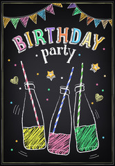 Youth style Birthday party poster with bottles of soda