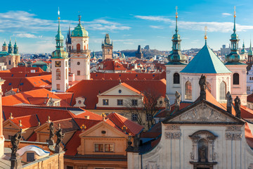 Printed roller blinds Eastern Europe Aerial view over Old Town in Prague with domes of churches, Bell tower of the Old Town Hall, Powder Tower, Czech Republic