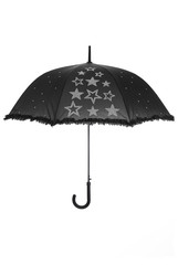 Open Black umbrella decorated with christals star shaped