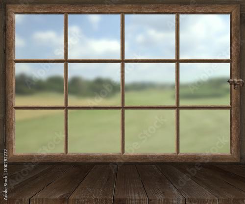 holzfenster mit sprossen im sommer stockfotos und. Black Bedroom Furniture Sets. Home Design Ideas