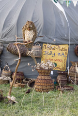 CHEPSTOW, WALES - July 2014: willow weaving and basket making stall on 31 July at the Green Gathering festival site