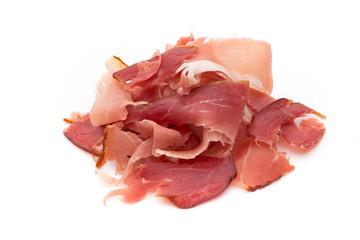 Slices of ham on white background.