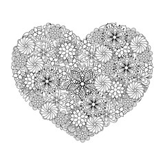Hand drawn artistic ethnic ornamental patterned Big heart in doo