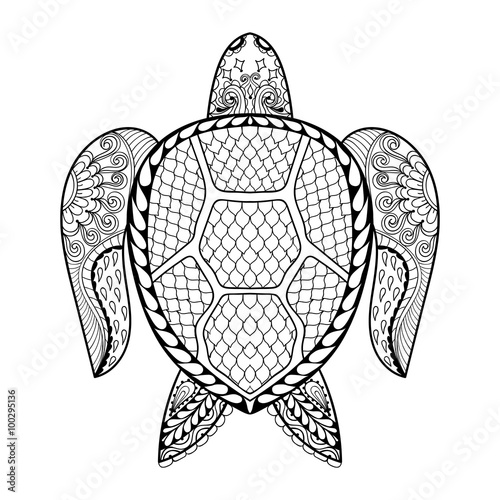Hand Drawn Sea Turtle For Adult Coloring Pages In Doodle Zentan