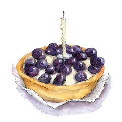 Watercolor illustration of blueberry tart with candle.