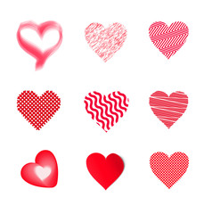 Set of red hearts. Vector elements