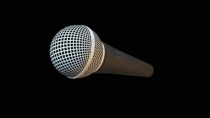 Microphone, audio equipment isolated on black background