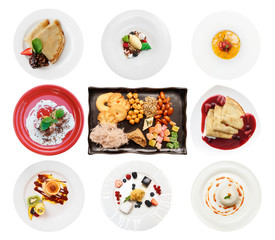 Set of various desserts on white background