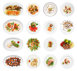Set of farious fish and seafood starters, isolated