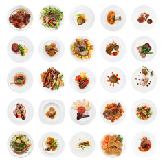 Set of various meat dishes shot from above, isolated