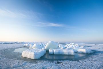 Ice hummocks swim in the sea