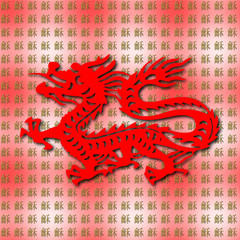 Chinese dragon in harmony and peace. Calm and very symbolic positive seamlessly tiled background about power, magnanimity, endurance and courage.
