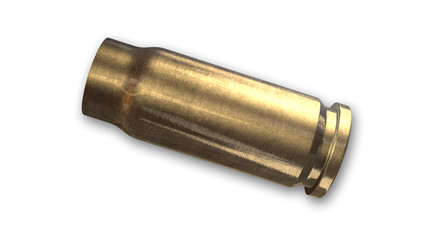 Bullet shell isolated on white background, side view