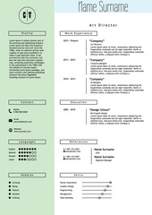 Vector creative resume template. Minimalistic green mint and white style. CV light infographic elements. Business personal job document.