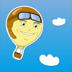 Vector EPS10 illustration cartoon hot air balloon imaging vintage pilot flies in the blue sky