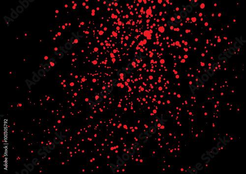 vector splatter of blood in red color on black background. bloody