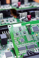 Printed Circuit Boards Placed Bulk with One Another in Laboratory