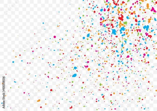 """""""Transparent background with many falling tiny round random confetti, glitter and serpentine ..."""
