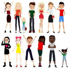 Cute Cartoon People Set for All Purpose: Fashion, Family, Business