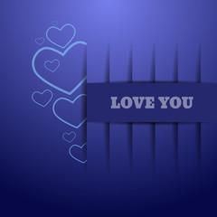 Heart design paper Valentines day blue card vector eps 10 illust