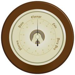 Barometer on dark wood
