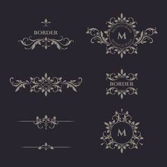 Classical elements. Decorative vector monogram and border.