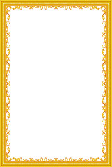 Wall Mural - Gold frame picture floral, vector