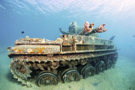Sunken wreck of a tank in Aqaba, Red Sea, Jordan.