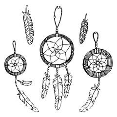 Black dreamcatcher and feather boho ethnic illustration