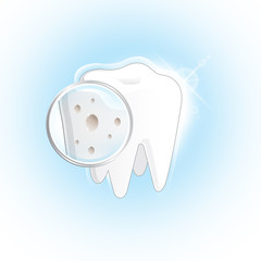 Demonstrate shot of decayed tooth on white background