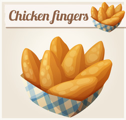 Chicken fingers in the paper basket. Detailed vector icon