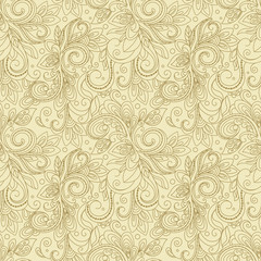 Creative hand-drawn seamless pattern of stylized flora in pastel and light beige color. Vector illustration.